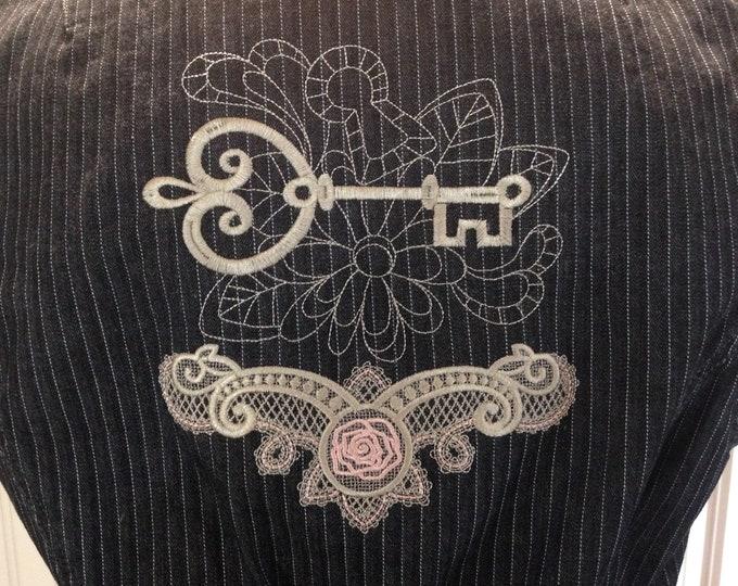 Women's denim vest steampunk vest lace bustle vest watch face pin vintage lace trim upcycled denim vest XL Klein denim vest altered couture