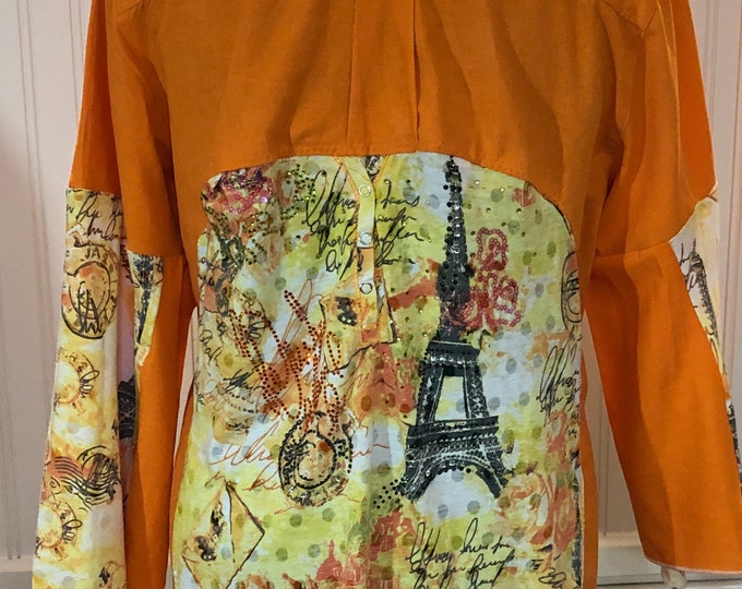 Women shirt orange linen rayon yellow Paris rhinestones back flare sleeves split hem white rose embroidery low hip tunic rhinestones Eiffel