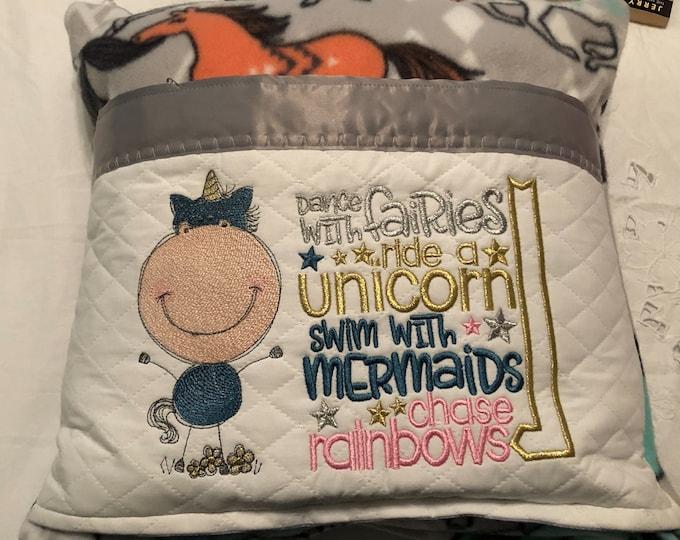 Featured listing image: Pocket pillow embroidered unicorn child reading pillow unicorn fairy mermaid quote zip close gray satin trim aqua horse print soft fleece