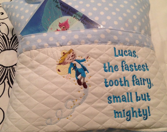Pocket pillow child reading pillow tooth collector fairy Lucas small but mighty quote zip close blue dot trim sheep moon star soft flannel