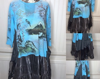 Womens XL Japan Fuji tee shirt tunic blue gray Japan graphic print lagenlook easy fit pocket tunic up cycled tee butterfly tunic lace ruffle
