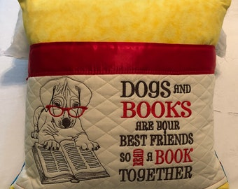 Pocket pillow puppy dog reading pillow paw patrol children's reading pillow yellow blue handle dogs and books quote embroidered puppy dog