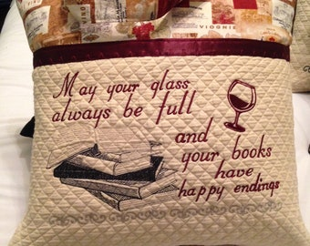 Wine theme pillow cover embroidered pillow cover book pocket pillow cover books and  wine pillow cover wine cream gold quilted pocket pillow