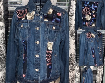 Womens denim bomber jacket upcycled embroidered mesh panels upcycled embroidered flowers on blue mesh insets  L bomber  jacket