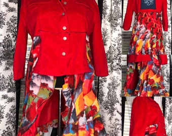 Womens red duster jacket upcycled red light corduroy with polyester red rainbow ruffle skirt denim needle felted blue back patch long jacket