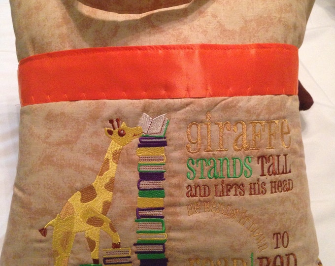 Pocket pillow giraffe reading pillow childs reading pillow zoo animal print fabric handle book giraffe quote zip close orange satin trim
