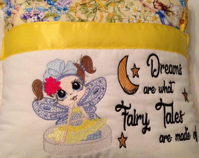 Pocket pillow fairy reading pillow blue yellow child reading pillow fairy fabric fairy dream quote zip close yellow satin trim yellow minky