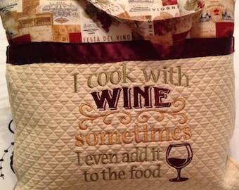 Wine theme pillow cover embroidered pillow cover book pocket pillow cover cook with wine pillow cover wine cream gold quilted pocket pillow
