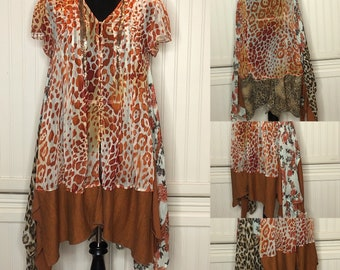 Womens tunic dress L upcycled giraffe animal print tee lagenlook  rust brown tunic asymmetric hem gold link chain neck trim butterfly weight