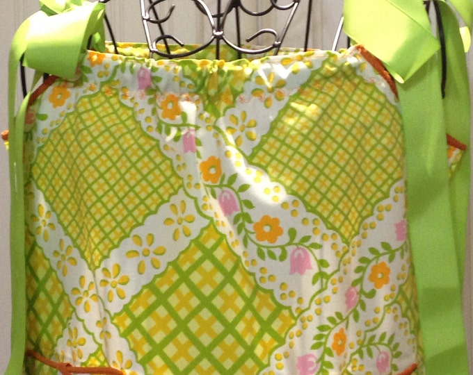Vintage pillow case dress girls dress vintage green yellow pink orange pillow case  Orange ricrac orange trim green grosgrain ribbon ties