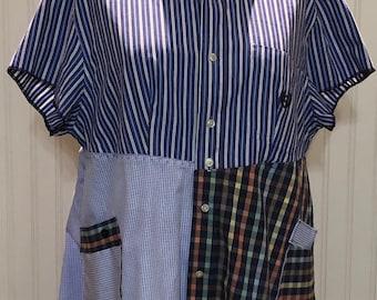 Womens purple blue stripe upcycled L shirt tunic shirt two pocket cotton shirt repurposed shirt purple white check blue white striped shirt