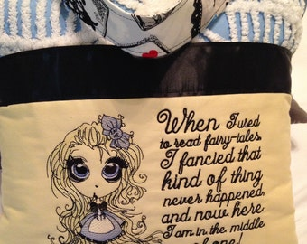Pocket pillow embroidered Alice pillow child reading pillow fairy tales quote zip close black satin Lecien print blue vintage chenille