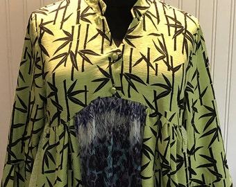 Womens upcycled black green shirt button front tunic shirt XXL black pea green bamboo silk shirt boho chic upcycled tee asymmetrical hem