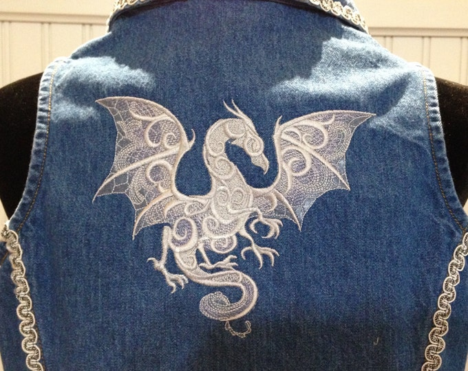 Womens upcycled denim vest embroidered dragon vintage White black silver soutache trim white lace dragon back soutache sparkle collar trim