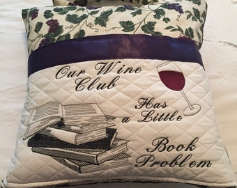 Book pocket pillow reading pillow wine book club embroidered pillow 16 inch pillow cover embroidered pillow grapes purple wine print