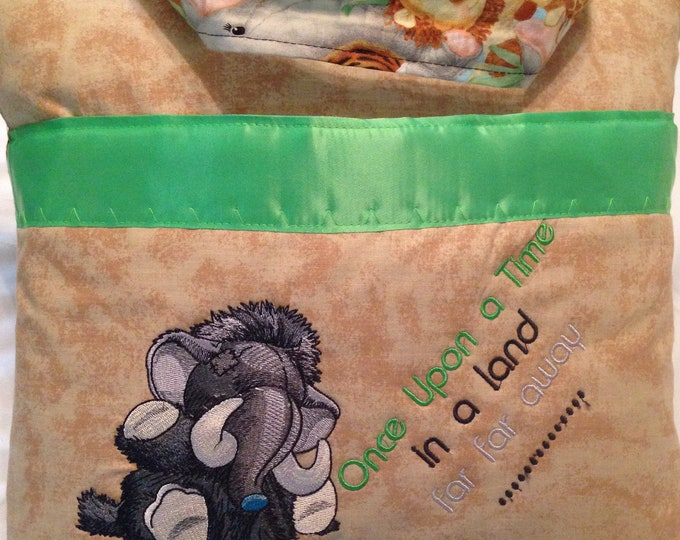 Pocket pillow elephant mastodon reading pillow children's reading pillow once upon a time zoo animal print cotton fabric handle green satin