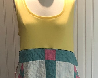 Womens upcycled tunic tank dress boho chic vintage quilt vintage chenille lagenlook tunic green yellow pink white silver sparkle repurposed