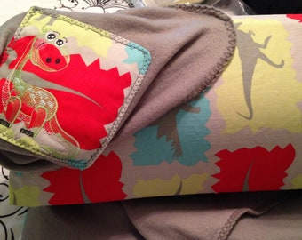 Nap mat cover Childs sleep mat cover gray flannel colorful dinosaur embroidered slip on handled webbing strap red yellow dinosaur print