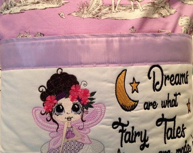 Pocket pillow fairy reading Lavender  child reading pillow pink fairy fabric zip close lavender  satin trim pink lavender swirls back