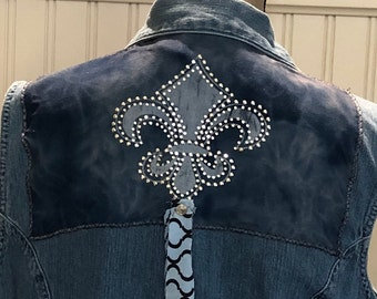 Womens denim upcycled Sleeveless vest shirt blue fluer de lis rhinestone back appliqué  rhinestone cross front appliqué