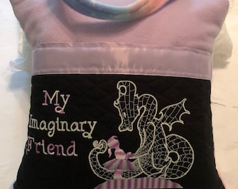 Book pocket pillow child pillow girl in tutu imaginary friend purple satin trim pink blue stars glow in Dark Dragon reading