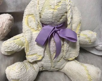 vintage chenille stuffed white yellow pink purple or aqua bunny ribbon tie 12 inches tall huggable washable vintage chenille repurposed