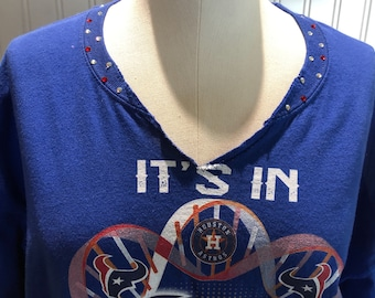 Women 2XL sports tee Texas tee shirt blue with crystal bling V neck cold shoulder tee split sides Houston tee sparkle crystals trim neck