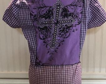 Women shirt purple check half sleeves split hem repurposed light cotton shirt purple tee overlay back rhinestone cross bleach faded bottom