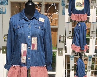 Denim art jacket womens XL dark blue denim jacket paint enhanced barn scene back burgundy gingham ruffle hem chicken print scene upcycle