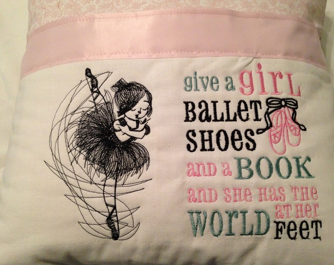 Pocket pillow pink black ballerina reading pillow childs reading pillow fabric handle zipper close pink satin dance with heart
