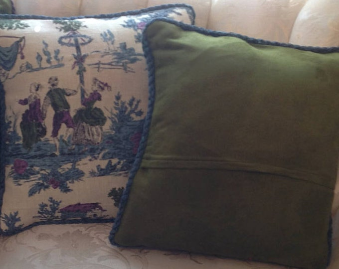 Toile Pillow Covers, Toile Envelope pillow covers, 17 inch square, purple, deep green velveteen,  blue rope trim, purple rope trim, envelope
