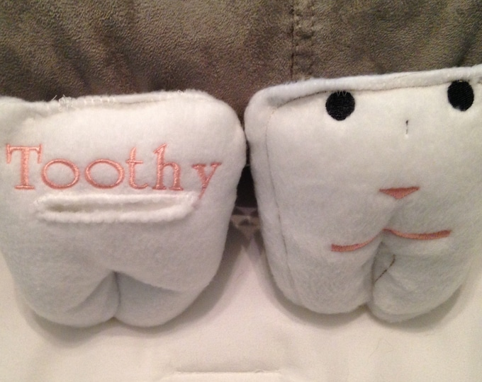 Custom personalized tooth fairy pillow tooth pocket pillow white minky tooth fairy pillow embroidered tooth fairy face pillow stuffed tooth