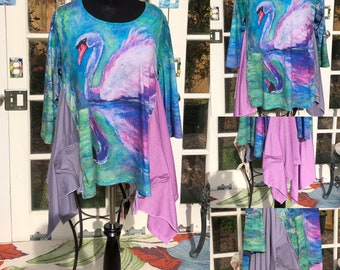 Womens XL swan tee shirt tunic Purple pink green swan water print lagenlook  easy fit pocket tee tunic upcycled tee butterfly pocket tunic
