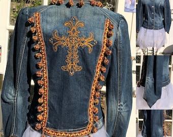 Womens S denim fitted jacket upcycled jacket bronze embroidered cross silver studs bronze wine braided Pom Pom trim tulip sleeve