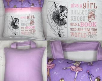Pocket pillow purple ballerina reading pillow childs reading pillow fabric handle zipper purple satin trim purple pink sparkle ballet print