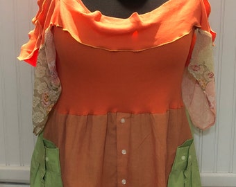 Womens upcycled orange green shirt button front tunic shirt 1X easy fit cotton shirt hem lime green bright orange boho chic Off shoulder