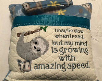 Pocket pillow embroidered sloth child reading pillow reading quote zip close blue satin trim gray sloth appliqué on blue print soft  fleece