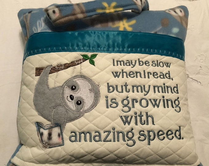 Featured listing image: Pocket pillow embroidered sloth child reading pillow reading quote zip close blue satin trim gray sloth appliqué on blue print soft  fleece