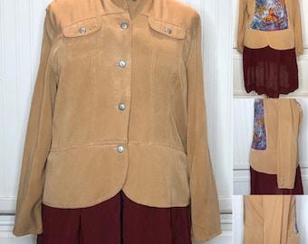 Camel burgundy women's duster jacket upcycled jacket burgundy flowing skirt camel peplum light weight long jacket plus size jacket upcycled