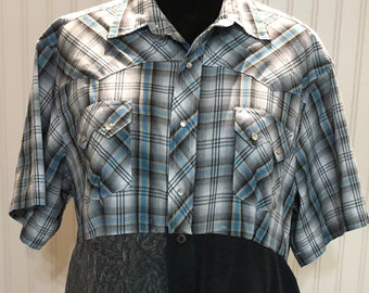 Womens aqua black gray upcycled XL shirt tunic western shirt lace butterfly trim cotton shirt repurposed shirt Black gray and plaid shirt