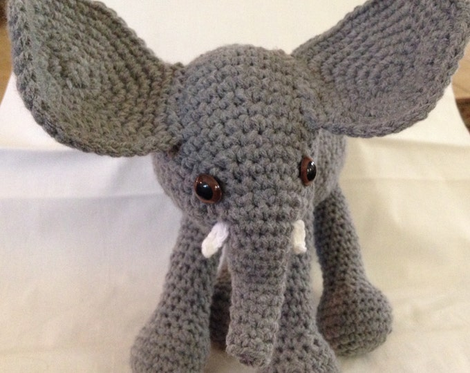 Crochet elephant gray Childs toy stuffed elephant handmade elephant gray elephant standing elephant crocheted stuffed animal Childs toy