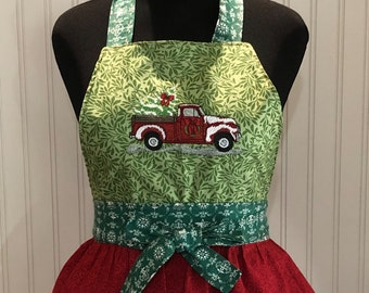Womens full apron Christmas ruffled apron Christmas truck embroidered bodice red green ruffles holly print cotton apron embroidered apron