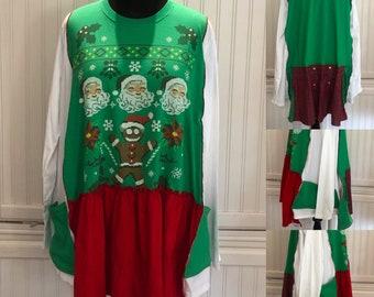 Women's tee shirt tunic red green White Santa gingerbread man Christmas tunic upcycled tee shirt tunic green red white Christmas dress  XXL