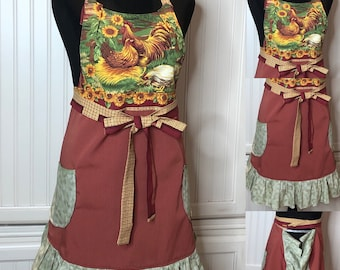Womens full apron red green orange rooster chickens sunflower cotton print full bodice half circle skirt vintage pattern