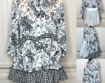 Womens black white L blouse gingham check embroidered back easy fit pocket lettuce edge sleeve summer top upcycled shirts ruffled hem flared