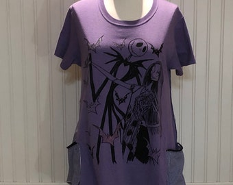 Womens upcycled tunic tee pop over top NBC Sally Jack lavender black Jack two pockets purple checked cotton upcycled shirt Easy fit L shirt
