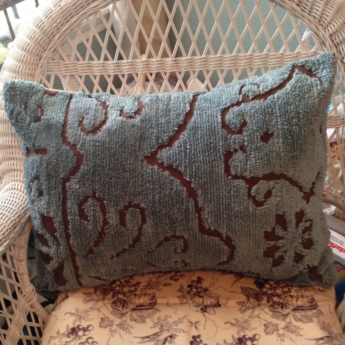 Chenille Pillow Sham Teal Chocolate Brown Repurposed Vintage