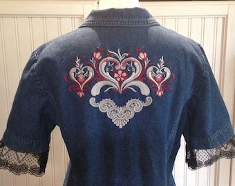 Women's upcycled 90s denim short sleeve jacket embroidered denim hearts red black bird ruffle Black lace trimmed silver buttons