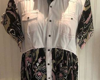 Womens upcycled pink black shirt snap front tunic shirt XL easy fit cotton shirt high low hem black pink crinkle front boho chic