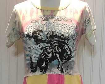 Womens high waist dress tunic pink yellow blue bling rodeo flare tee tunic easy fit upcycled tee Summer rodeo theme size M to L pockets